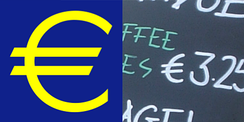 The euro sign; logotype and handwritten