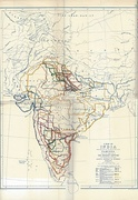 Map of famines in India 1800–1885