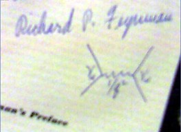 Feynman diagram signed by R. P. Feynman.