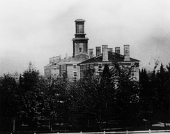 The oldest known photograph of Colby, a daguerreotype taken in 1856 of the three central buildings on campus: South College, Recitation Hall, and North College