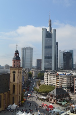 The view towards downtown Frankfurt from Zeil shopping street