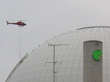 Assembly of the 'Skyview' elevator using helicopter 6 November 2009