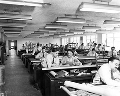 The drafting room at the Aircraft Engine Research Laboratory in 1942.