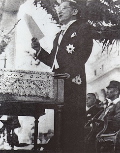 José P. Laurel giving a speech after his inauguration as President of the Second Philippine Republic