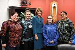 Senator Lisa Murkowski with students from Iḷisaġvik College.