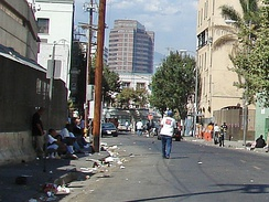 Skid Row, Los Angeles contains one of the largest stable populations, between 5,000 and 8,000, of homeless people in the United States.[254]