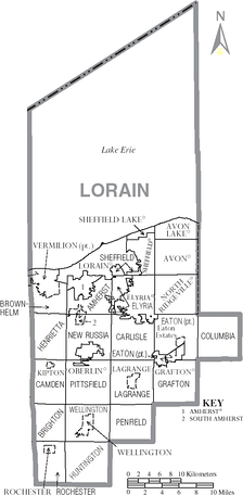 Map of Lorain County, Ohio With Municipal and Township Labels