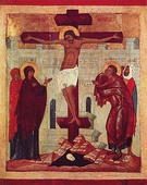 Icon of the Crucifixion; circa 1360; by the Novgorod School; Louvre (Paris)