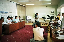 Mongolian media interviewing the opposition Mongolian Green Party. The media has gained significant freedoms since democratic reforms initiated in the 1990s.