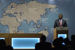 Morgan Tsvangirai speaks at Chatham House in London in 2014