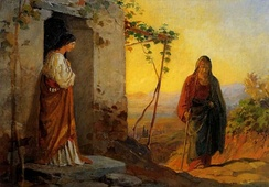 Nikolai Ge. Mary, sister of Lazarus, meets Jesus who is going to their house