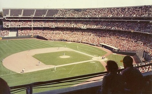 The Oakland Athletics playing host to the Texas Rangers at the Oakland–Alameda County Coliseum during a 1981 home game.