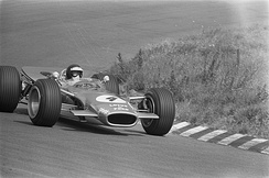 Oliver driving the Lotus 49 at the 1968 Dutch Grand Prix.