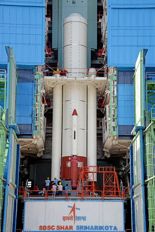 PSLV-C44 first stage inside Mobile Service Tower.