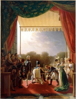 Louis XVIII on a balcony of the Tuileries Palace receiving the Duke of Angoulême after his successful military campaign in Spain.