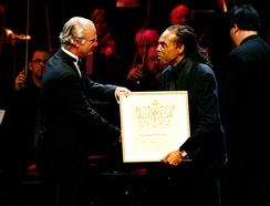 Gilberto Gil - the winner in the contemporary category in 2005, receives the prize from King Carl XVI Gustaf of Sweden