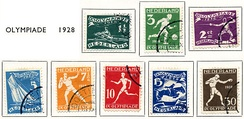 Eight Dutch stamps from 1928, showing different sports of the Amsterdam Olympics