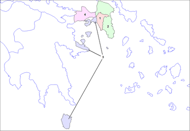 Division of Attica (labelled 1 in the map above): 1 Athens, 2 East Attica, 3 Piraeus, 4 West Attica.
