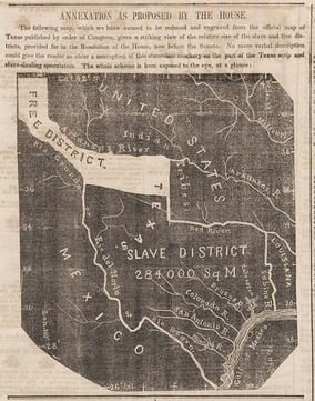 A map, published in the Newark Daily Advertiser as the U.S. Senate was considering a Joint Resolution for the Annexation of Texas that had been adopted by the House of Representatives.