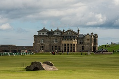 St Andrews, Scotland, the home of golf. The standard 18 hole golf course was created at St Andrews in 1764.[591]