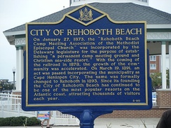 Historical marker displaying brief history of Rehoboth Beach