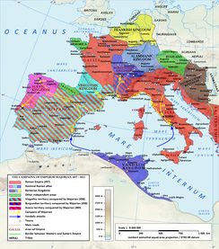 The Western Roman Empire during the reign of Majorian in 460 AD. During his four-year-long reign from 457 to 461, Majorian successfully restored Western Roman authority in Hispania and most of Gaul. Despite his accomplishments, Roman rule in the west would last less than two more decades.