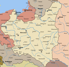Map of Poland during the Interwar period, 1921–39