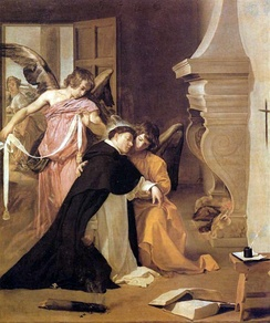 Diego Velázquez, Thomas is girded by angels with a mystical belt of purity after his proof of chastity