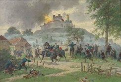 Painting of the destruction of the Château of Lichtenberg