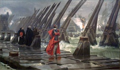 October 28: Cardinal Richelieu at the Siege of La Rochelle. Painting by Henri Motte from 1881.