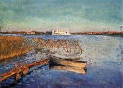 Большое Михайловское озеро на пейзаже Грабаря (1920); вдали можно различить очертания монастыря.
