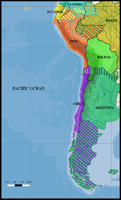 South America (1879): All land claims by Peru, Ecuador, Colombia, Brazil, Argentina, Chile, and Bolivia in 1879