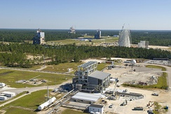 E Test Complex (foreground) at the Stennis Space Center, where Relativity conducts Aeon 1 test firings.[2]