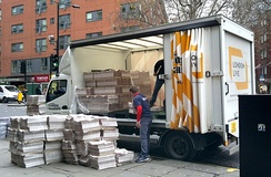 Unloading the London Evening Standard at Chancery Lane Station, Holborn, Nov 2014.