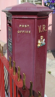 This VR pillar box originally installed in Guernsey in 1852/3 on Trollope's recommendation and one of the oldest still in use