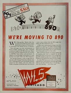 WLS, Chicago, advertisement promoting its March 29, 1941, move from 870 to 890 kHz[6]