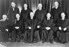 The members of the U.S. Supreme Court that on May 17, 1954, ruled unanimously that racial segregation in public schools is unconstitutional.