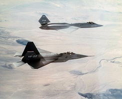 Prototype YF-22 and YF-23 fighters, 1991