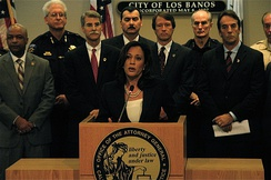AG Harris announces the arrest of 101 gang members in Los Banos, California.