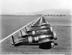 Boeing P-26A Peashooters of the 17th Pursuit Group, March Field, California.