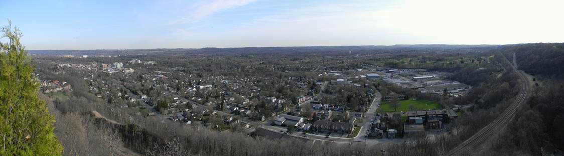 Panoramic view of Dundas, East-West, from the Dundas Peak