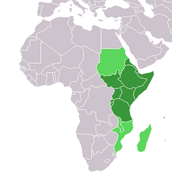 East Africa, dark green always included, light green sometimes included