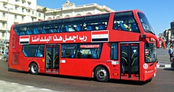 A double-decker bus in Alexandria, Egypt
