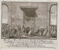 Frederick's marriage to Elisabeth Christine on 12 June 1733 at Schloss Salzdahlum