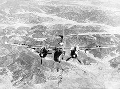 A USAF Douglas B-26B Invader of the 452nd Bombardment Wing bombing a target in North Korea, 29 May 1951