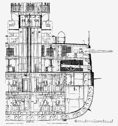 Cross-section view amidships of USS Kearsarge, showing how the armour scheme relates to the innards of the ship