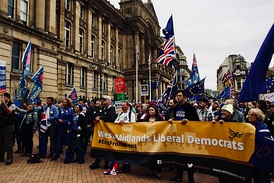 The Liberal Democrat contingent at an anti-Brexit rally in Birmingham in September 2018