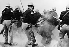 "Police attack non-violent marchers on ""Bloody Sunday"", the first day of the Selma to Montgomery marches."