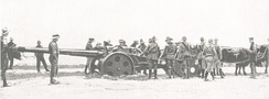 Union Defence Force gun in the Kalahari Desert.