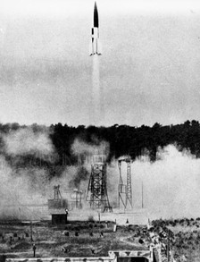 A V-2 rocket launched from a fixed site in Peenemünde, 21 June 1943